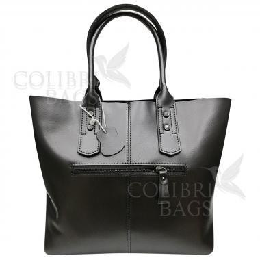 Женская кожаная сумка IDALGO c косметичкой. Стальной