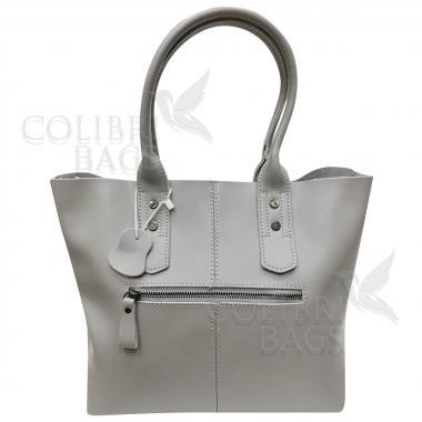 Женская кожаная сумка IDALGO c косметичкой. Светло-серый
