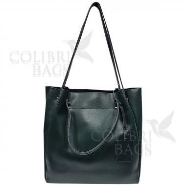Женская кожаная сумка ILLARIYA. ТЕМНО-ЗЕЛЕНЫЙ.