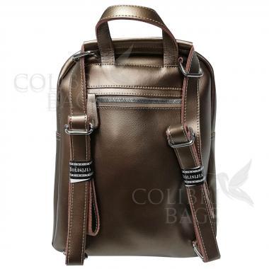 Кожаный рюкзак-сумка  INDIKA CASUAL. Бронза.