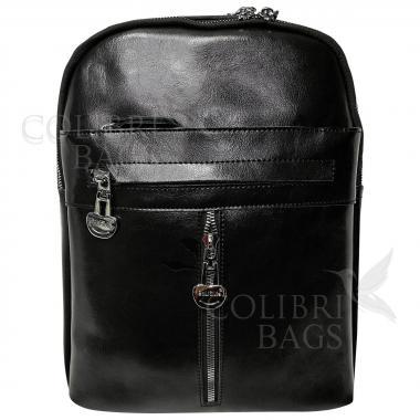 Кожаный рюкзак-сумка  INDIKA CASUAL. Черный.
