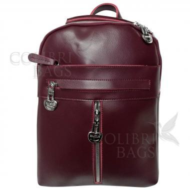 Кожаный рюкзак-сумка  INDIKA CASUAL. Ежевичный.