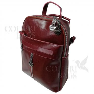 Кожаный рюкзак-сумка  INDIKA CASUAL. Гранат.