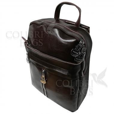 Кожаный рюкзак-сумка  INDIKA CASUAL. Шоколад.