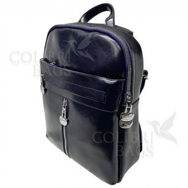 Кожаный рюкзак-сумка  INDIKA CASUAL. Темно-синий.