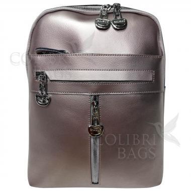 Кожаный рюкзак-сумка  INDIKA CASUAL. Жемчуг.