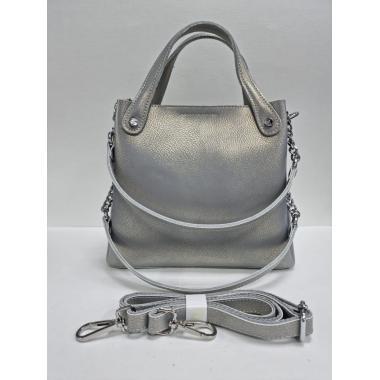 Женская кожаная сумка INDURO. Серый перламутр