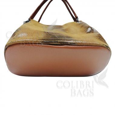 Женская кожаная сумка Ingrid Nova Midi. Охра