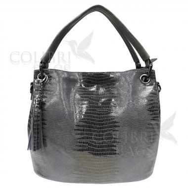 Женская кожаная сумка Ingrid Nova Midi. Пепельный