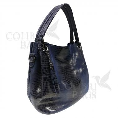 Женская кожаная сумка Ingrid Nova Midi. Темно-синий