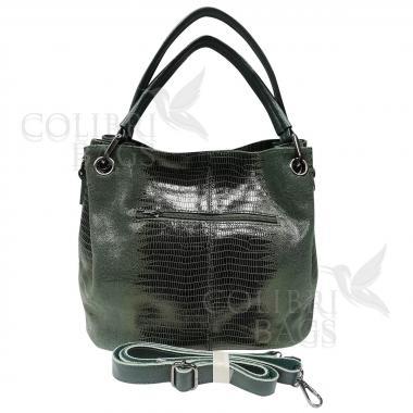 Женская кожаная сумка Ingrid Nova Midi. Темно-зеленый