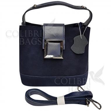 Женская кожаная сумка Julia Замша. Темно-синий.