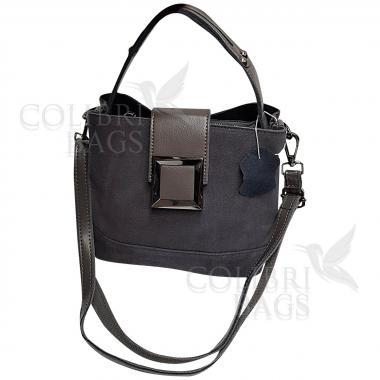 Женская кожаная сумка Julia Замша. Пепельный.