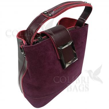 Женская кожаная сумка Julia Замша. Ежевичный.