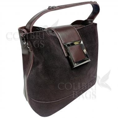 Женская кожаная сумка Julia Замша. Шоколад.