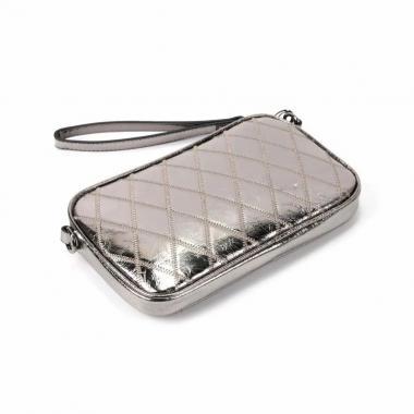 Женская кожаная сумка KALINKA КЛАТЧ. Серебро