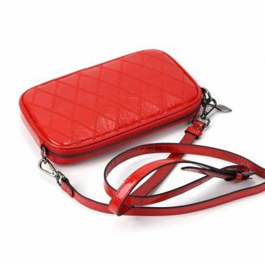 Женская кожаная сумка KALINKA КЛАТЧ. Ярко-красный