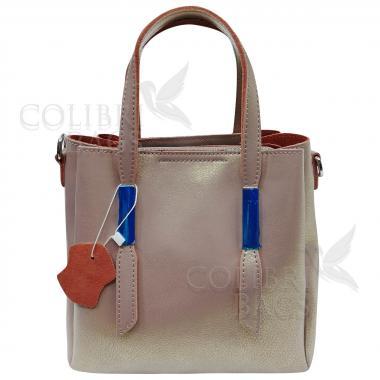 Кожаная сумка Kinto. Бежевый перламутр