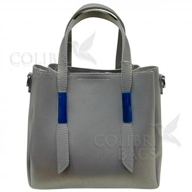 Кожаная сумка Kinto. Серый перламутр