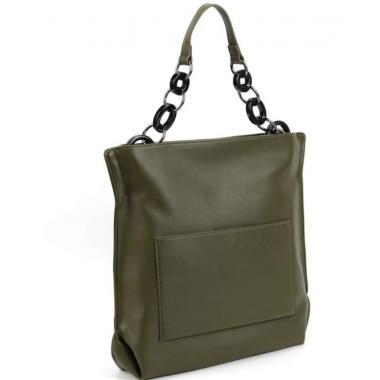 Женская кожаная сумка Klementa. Болотный