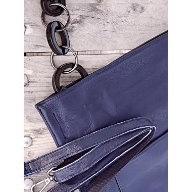 Женская кожаная сумка KLEMENTA ITALY. Темно-синий