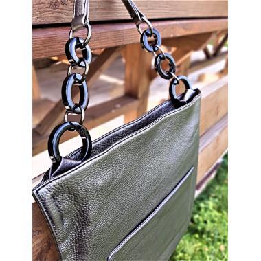Женская кожаная сумка KLEMENTA ITALY. Стальной