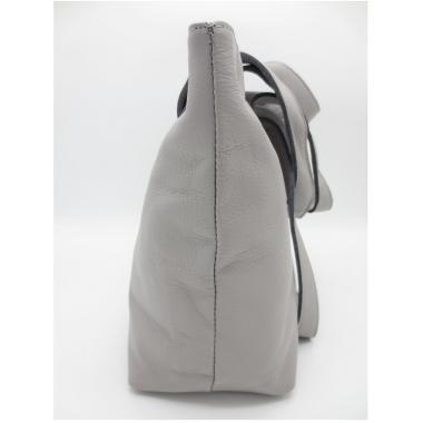 Женская кожаная сумка KROOT. Светло-серый