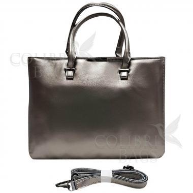 Женская кожаная сумка-планшет Kyzer. Серебро