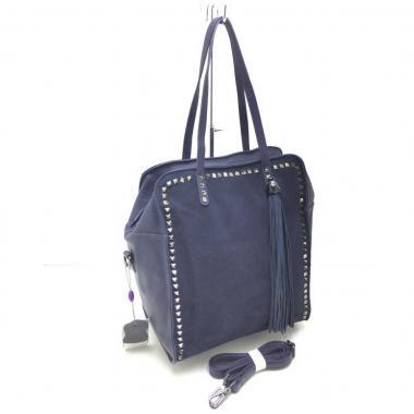 Женская кожаная сумка LEO. Темно-синий