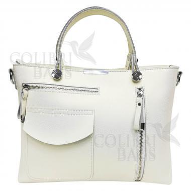 Женская кожаная сумка LION. Белый перламутр