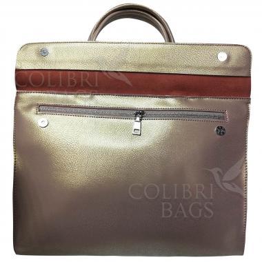 Женская кожаная сумка LIONELLA. Бежевый перламутр.