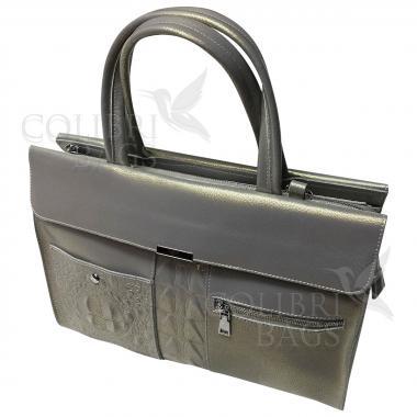 Женская кожаная сумка LIONELLA. Серый перламутр.