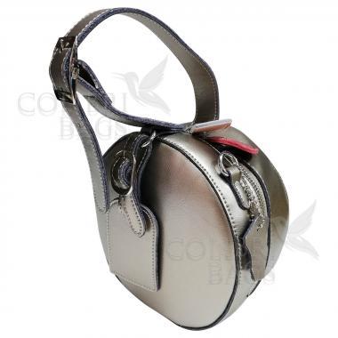 Женская кожаная сумка Lola. Темное серебро