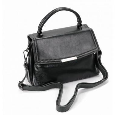 Кожаная сумка-кроссбоди LORENZA. Черный.