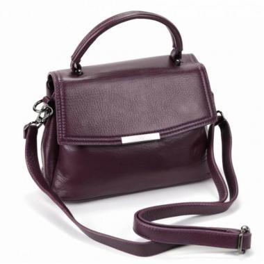 Кожаная сумка-кроссбоди LORENZA. Ежевичный.
