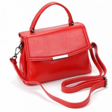 Кожаная сумка-кроссбоди LORENZA. Красный.