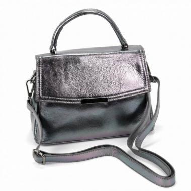 Кожаная сумка-кроссбоди LORENZA. Серебро.