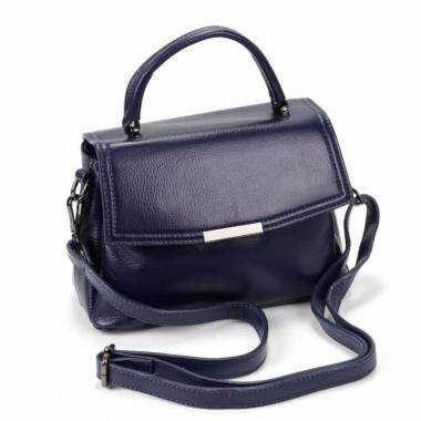 Кожаная сумка-кроссбоди LORENZA. Темно-синий.