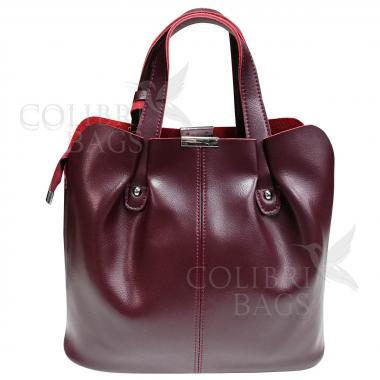 Женская кожаная сумка MADRID гладкий. Ежевичный