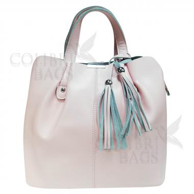 Женская кожаная сумка MADRID гладкий. Розовый
