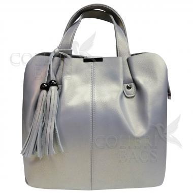 Женская кожаная сумка MADRID гладкий. Серый перламутр