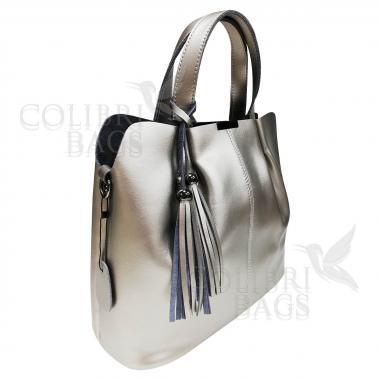 Женская кожаная сумка MADRID гладкий. Серебро