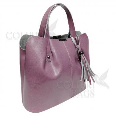 Женская кожаная сумка MADRID гладкий. Сиреневый