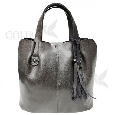 Женская кожаная сумка MADRID гладкий. Пепельный