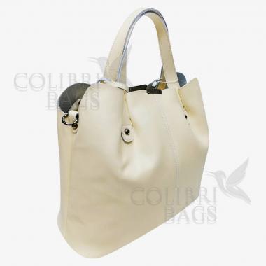 Женская кожаная сумка MADRID гладкий. Слоновая кость