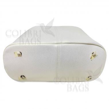 Женская кожаная сумка MADRID гладкий. Белый перламутр
