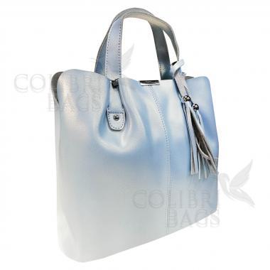 Женская кожаная сумка MADRID гладкий. Голубой перламутр