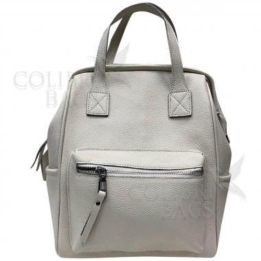 Кожаный рюкзак-трансформер MAMMIS. Белый.