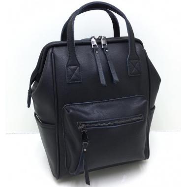 Кожаный рюкзак-трансформер MAMMIS.ЧЕРНЫЙ.