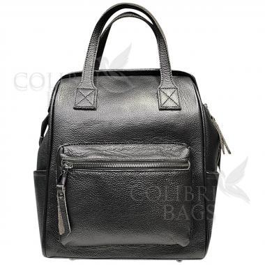 Кожаный рюкзак-трансформер MAMMIS. Стальной.